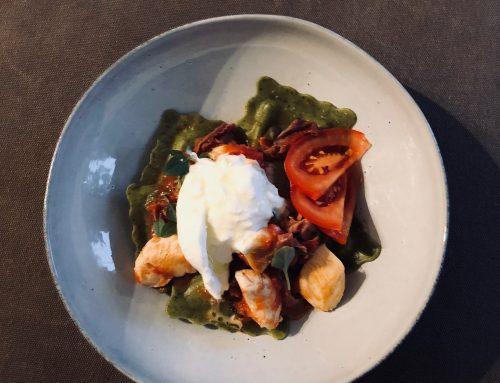 DINNER: Verse pasta met tomaat, parmaham en burrata